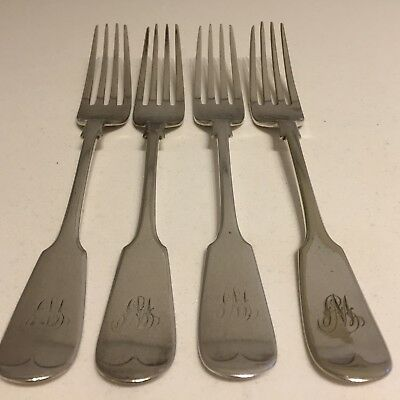 W Monogram Antique Silver Plated EPNS Forks Dessert Dinner Table Set of 4 (EP27)
