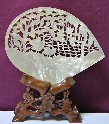 Chinese Carved Shell Mother of Pearl Plaque Chinese Wood Stand Cranes Scene