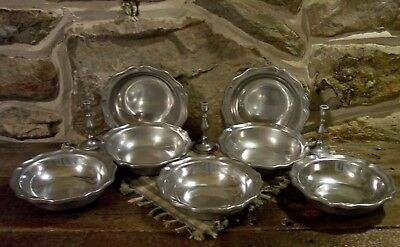vintage wilton armetale candlestick pewtarex colonial cereal 6.75 pewter bowls