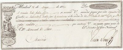 Wechsel Madrid 1820, Bill of exchange, Lettre de change, Cambio
