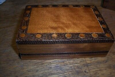 vintage box, inlaid  style with copper