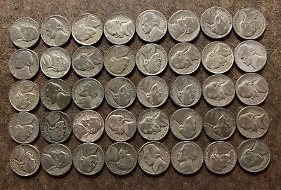 Roll (40 coins) Silver War Nickels; 1942 to 1945 - 2.25 ASW - No Reserve