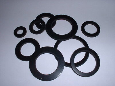 3Mm Thick Flat Ring Black Neoprene Anti Vibration Rubber Washer Seal Gaskets 2Pk