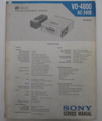 Service Manual And Service Bulletins For Sony VO-4800 Portable Umatic VCR