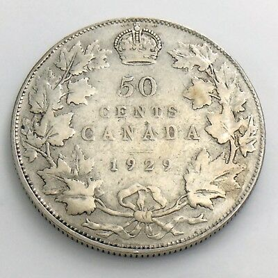1929 Fifty 50 Cent Canada Half Dollar George V Circulated Canadian Coin H893