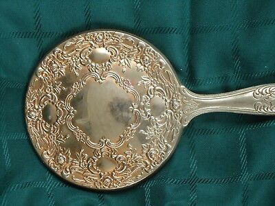 Vintage  Collectible 9.5 Round Ornate  Vanity Hand Mirror