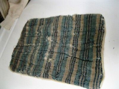 ANTIQUE BLUE STRIPED LINSEY WOOLSY DOLL BED MATTRESS pillow lindsey woolsey