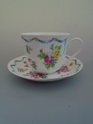 New 1995 Roy Kirkham Dresden Sprays Jumbo Breakfast  Bone China Cup & Saucer