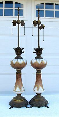 """Pair Antique Vintage 1920 Hand Painted Glass Feather Leaf Bronze French Lamp 40"""""""