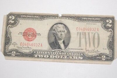 1928G $2 Two Dollar Red Seal United States  Note Circulated Currency