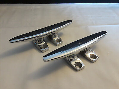 """Vintage Collectible Two 6"""" Chrome Boat Cleats Nautical Design Sailboat Cleat"""