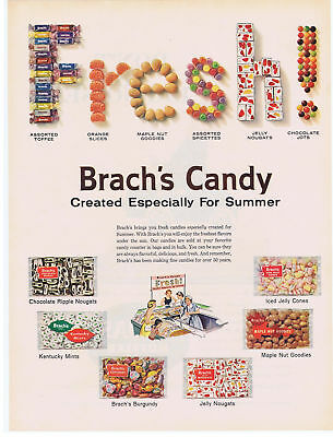 1960 BRACH'S CANDY for Summer PRINT AD Orange Slices Maple Nut Goodies & More