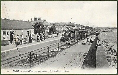 Jersey LL Number 41. St. Helier, The Station. Steam Train c1908. Top Condition.