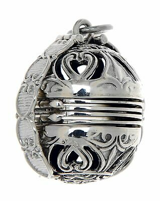 Victorian Style Sterling Silver 6 Photo Ball Locket Pendant - Free Shipping