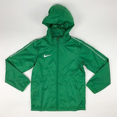New Nike Soccer Park 18 Rain Jacket Unisex Youth Medium Green Windbreaker AA2091