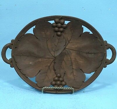 Swiss Black Forest Wood Carving PLATE Basket Grapes Leaves Relief Brienz Gift
