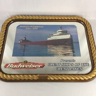 Edmund Fitzgerald Budweiser Great Ships Great Lakes Bar Mirror Beer Sign Vintage