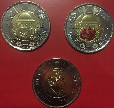 1918-2018 100th Anniversary Armistice Two Toonie $2 Coins from Special Wrap Roll