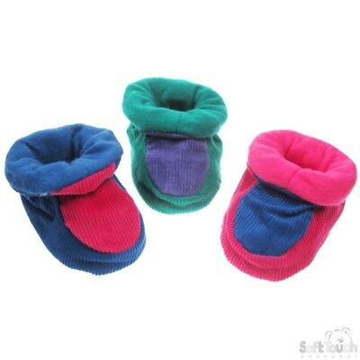 Traditional Baby Boys Girls Cord Grip Sole Padders Booties Slippers Soft & Warm