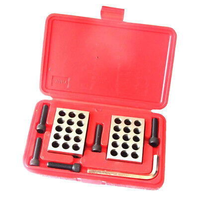 "1 Pair Precision 1-2-3 Blocks 0.0001"" 23 Holes Machinist Steel with Case"