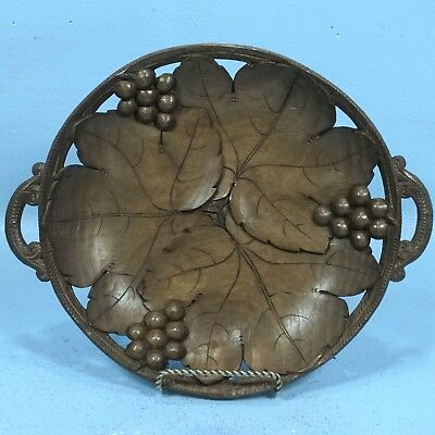 Swiss Black Forest Wood Carving PLATE Basket Grapes Leaves Vine Brienz Gift