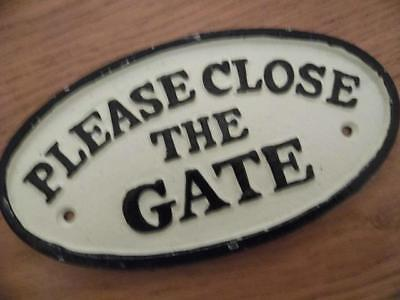 Super Cast Iron Vintage Black White Oval Wall Plaque Sign Please Close The Gate