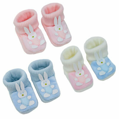 Baby Girls & Boys Traditional Soft Knitted Booties Easter Bunny Design Newborn