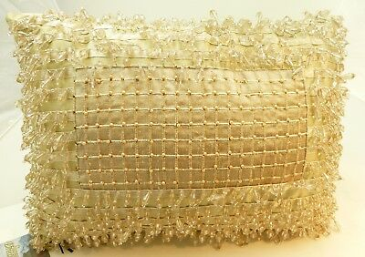"""Sweet Dreams Decorative Pillow NEW Beaded Designer 11"""" x 13"""" Horchow Crystals"""