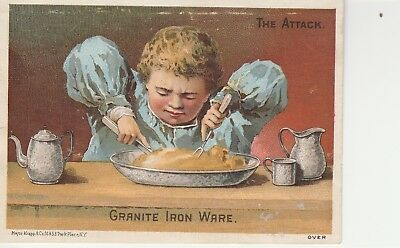 Victorian Trade Card Granite Iron Wear The Attack Young Boy Eating Dish of Food