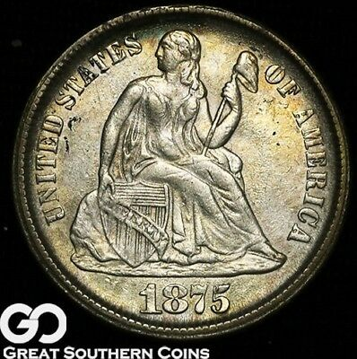 1875-CC Seated Liberty Dime, Tough Choice Uncirculated++ Better Date * Free S/H!