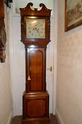 VICTORIAN LIGHT OAK 8 DAY GRANDFATHER CLOCK c1860 e LOWE