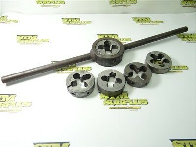 """5Pc Lot Of 2-1/2"""" Od Hss Round Dies W/ Wrench 3/4""""-16Nf To 1""""-14Nf Gtd Winter"""
