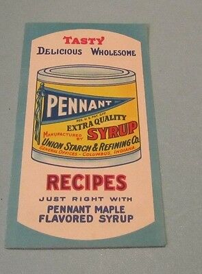 Vintage Pennant Maple Flavored Syrup Recipe Booklet Columbus Indiana Advertising