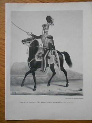 VINTAGE MILITARY PRINT- 7TH THE QUEENS OWN HUSSARS  c1833