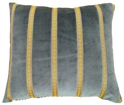 Vintage Decorative Art Deco Green Velvet Pillow with Gold Stripes!