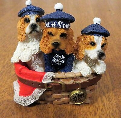 AKC Cocker Spaniel Dog Puppies in Basket Table Christmas Ornament Let It Snow!