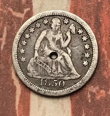 1850 10C Seated Liberty Dime 90% Silver Vintage US Coin #LX57