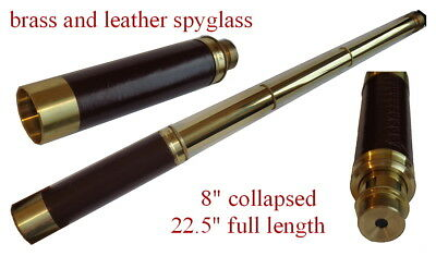 "LARGE 22.5"" Antique Brass Telescope Leather Grip , Spyglass, pirate"