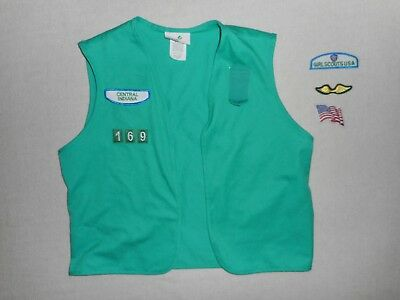 "Girl Scout Vest With Indiana Patches *size Tag Removed (19"" Across) * See Photos"