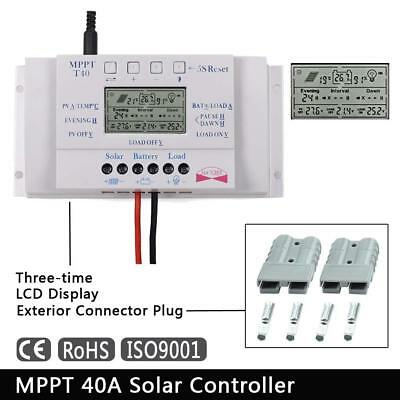 LCD 40A MPPT Solar Panel Charging Controller Three Time + 1Pair Exterior Plug BO