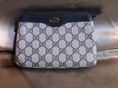 Gucci Accessory Collection Blue vintage cosmetic bag makeup pouch ba (NJL015762)