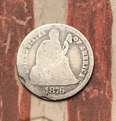 1876-CC 10C Seated Liberty Dime 90% Silver Vintage US Coin #LX59