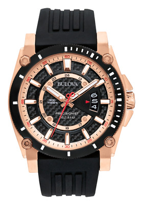 BULOVA Precisionist rose-gold tone rubber strap black dial men's watch 98B152