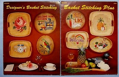 2 Vintage 1983 Basket Stitching Plus Cross Stitch Books 22 Designs for Baskets