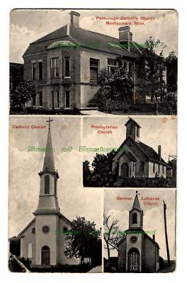 NOS Early 1900 RPPC, The Church's of  Montgomery, Minnesota