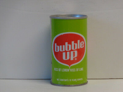 Vintage Bubble Up Straight Steel Pull Tab Top Opened Soda Can No Bar Code