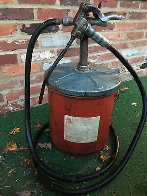 Vintage 5 Gallon Motor Grease Can Dispenser w Hose KP Mfg Co Citco Grease Works!