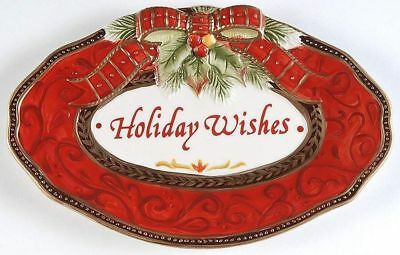 New In Box Fitz and Floyd Holiday Sentiment Tray and Cookie Platter Bundle