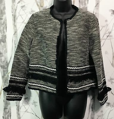 H&M Black & White Womens Textured Open Front Lined Blazer Size 10