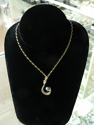 HAWAIIAN 14K YELLOW GOLD POLYNESIAN SHINY MAKAU FISH HOOK PENDANT w/ PEARL